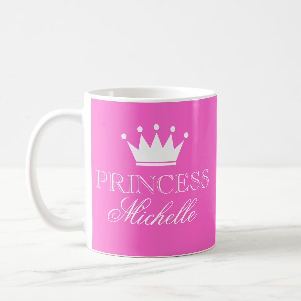 Personalised princess mug in pink with custom name