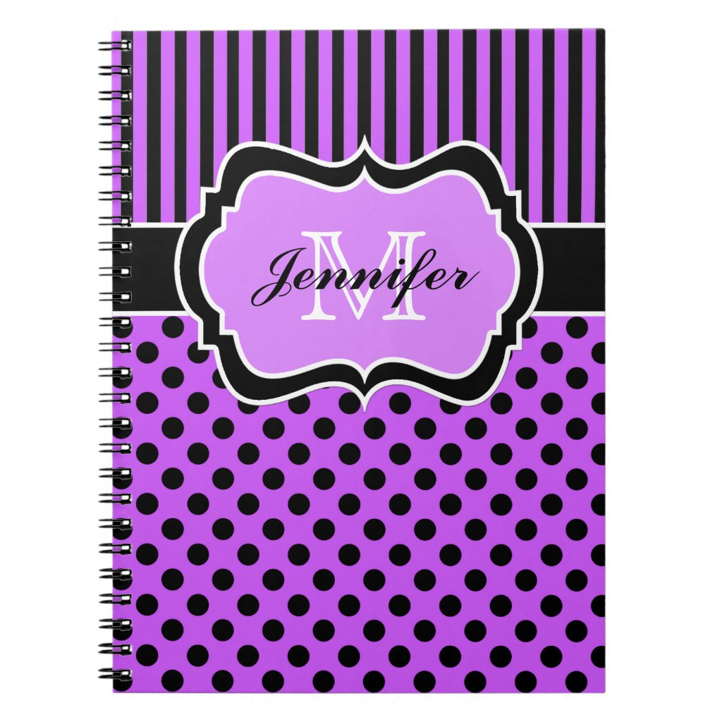 Personalised Purple Black White Striped Polka Dots Notebook