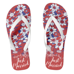 Personalised Red Floral Honeymoon Vibes Flip Flops