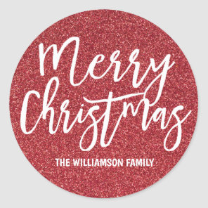 Personalised Red Glitter Merry Christmas Classic Round Sticker