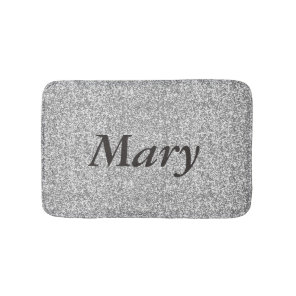 Personalised Silver Glitter Bath Mat