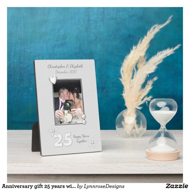 Personalised Silver Wedding Anniversary Photo Plaque