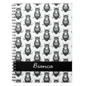 Personalised Simple Illustrated Owl Pattern Notebook