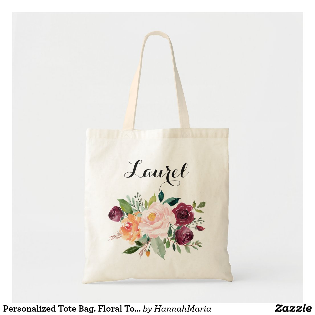 Personalised Tote Bag. Floral Tote Bag. Bridesmaid