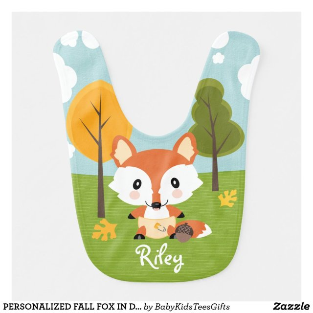 PERSONALIZED FALL FOX IN DIAPERS