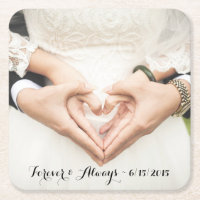 Personalized Wedding Photo Paper Coaster