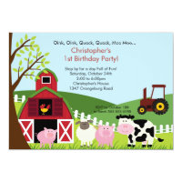 Photo Barnyard Animal Fun Birthday Party Card