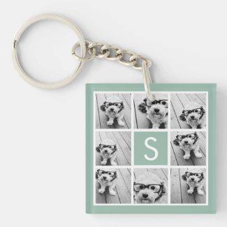 Photo Collage Custom Monogram Mint Green Keyring