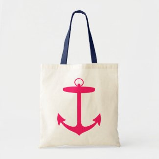 Pink Anchor Silhouette Tote Bag