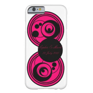 Pink and black abstract circles monogram phone/c