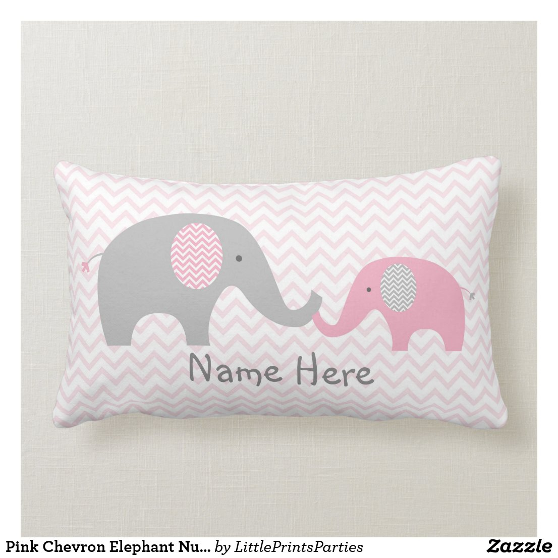 Pink Chevron Elephant Nursery Lumbar Cushion