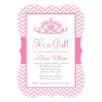 Pink Chevron Princess Crown Girl Baby Shower Card