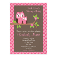 Pink Damask Owl Baby Shower Invitation