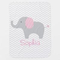 Pink Elephant Chevron Personalized Baby Blanket