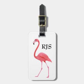 Pink Flamingo Monogram Personalise Luggage Tag