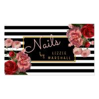 Pink Floral | Black White Stripes Nail Tech Business Card