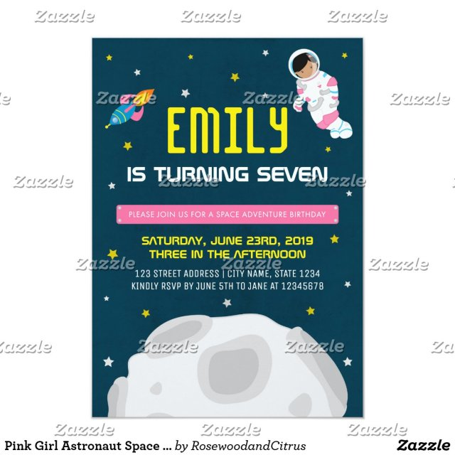 Pink Girl Astronaut Space Birthday Invitation