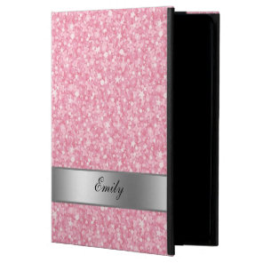 Pink Glitter Silver Gradient Accents Monogram Powis iPad Air 2 Case