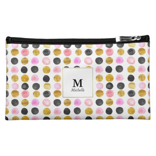 Pink & Gold Polka Dot Monogram Cosmetic Bag