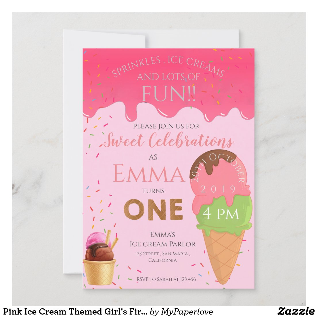 Pink Ice Cream Themed Girl S First Birthday Party Invitation Be Happy Prints