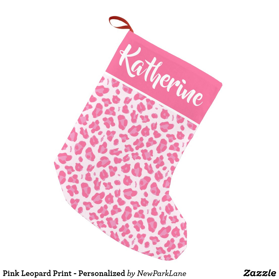 Pink Leopard Print - Personalised Small Christmas Stocking