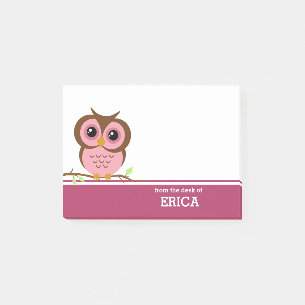 Pink Owl Personalised Post It Notes