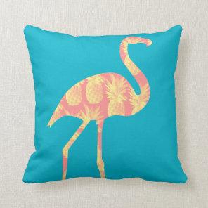 Pink Pineapples Flamingo Custom Throw Pillow