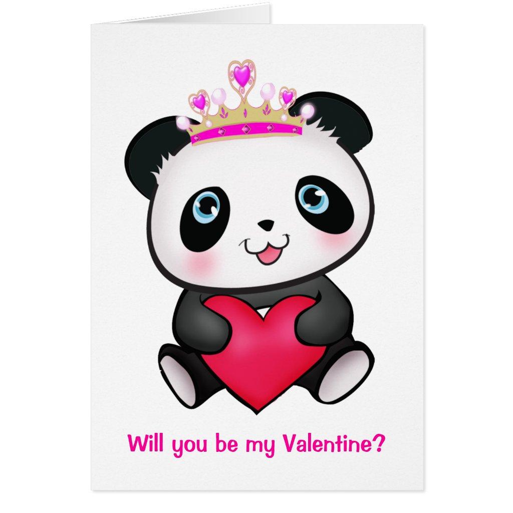 Princess Panda Valentines Card