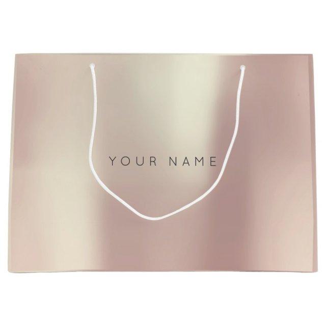 Pink Rose Gold Blush Pearly Minimal Gift Gray Large Gift Bag