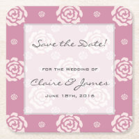 Pink Rose Pattern Save the Date Square Paper Coaster