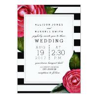 Pink Roses Floral Black   White Stripe Wedding Card
