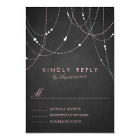 Pink String Lights Chalkboard Wedding RSVP Card