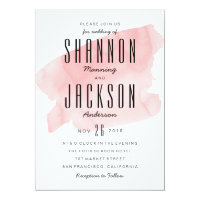 Pink Watercolor Wash Wedding Invitation
