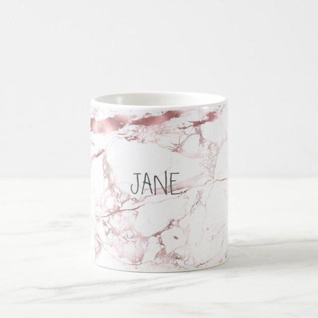 PixDezines WHITE MARBLE+FAUX ROSE GOLD VEINS Coffee Mug