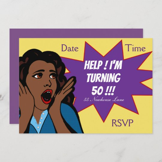 Pop Art Funny 50th Birthday Party Invitation Zazzle Co Uk