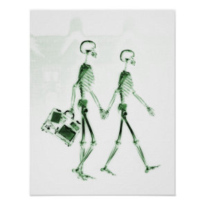 Poster- X-Ray Skeleton Couple Travelling Green Poster