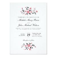 Pretty Floral Modern Stylish Wedding Invitation