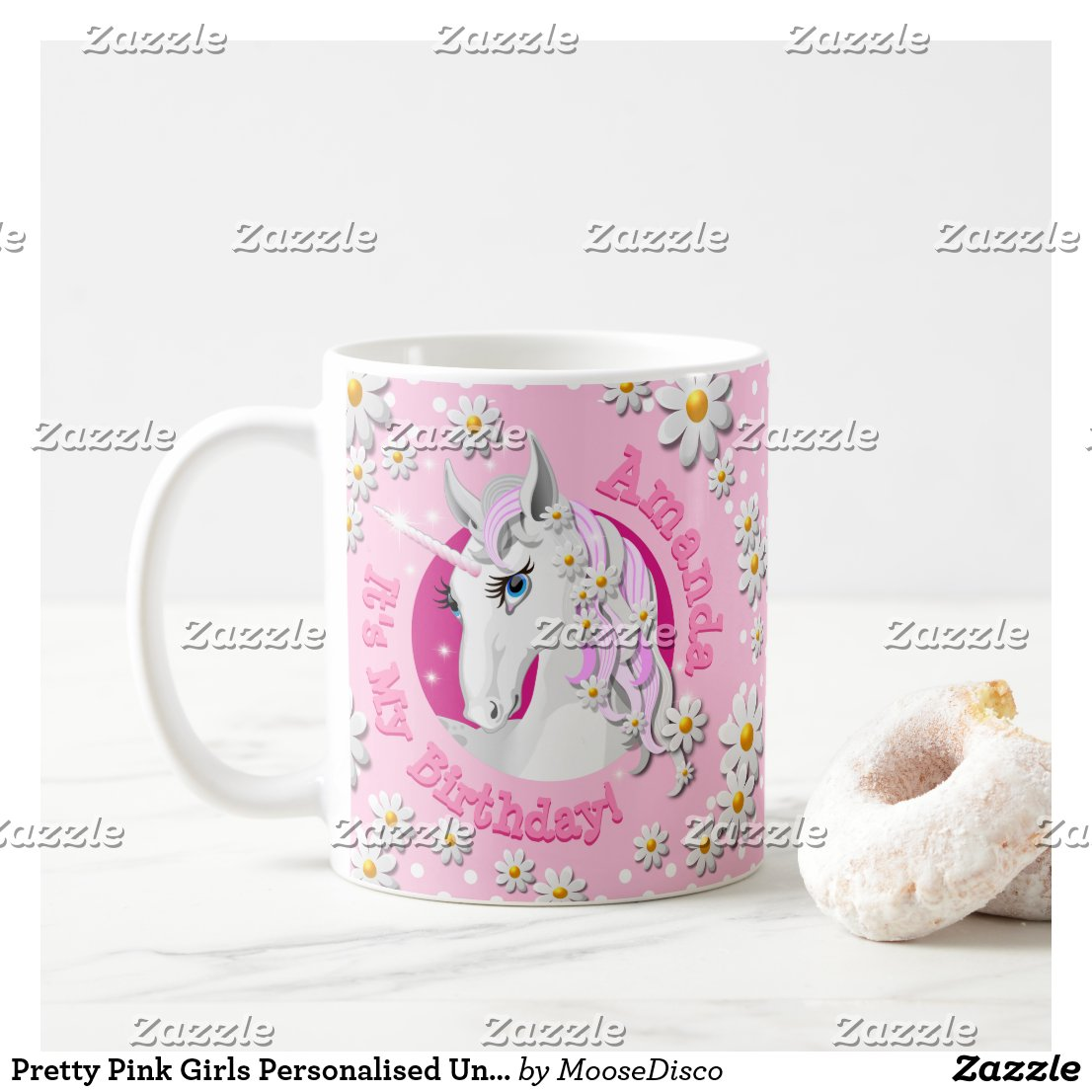 Pretty Pink Girls Personalised Unicorn Party Coffee Mug