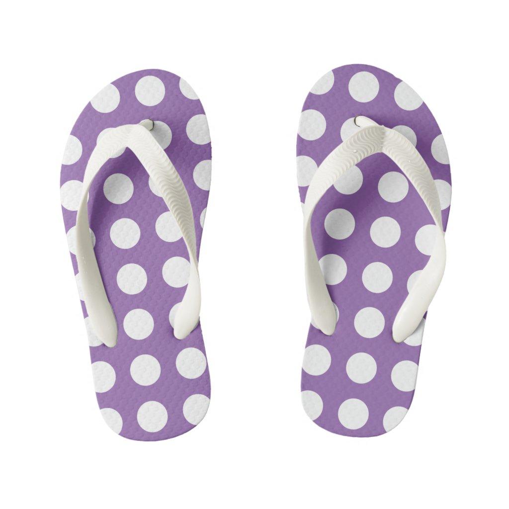 Pretty Purple Kids Flip Flops Polka Dot
