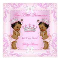 Princess Pink Pearls Twin Baby Shower Tiara Ethnic Card