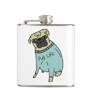 Pug Life - Funny Dog In A Sweater Hip Flask