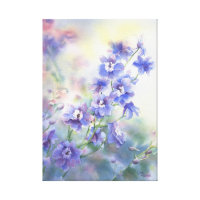 Purple Blue Delphinium Floral Print on Canvas