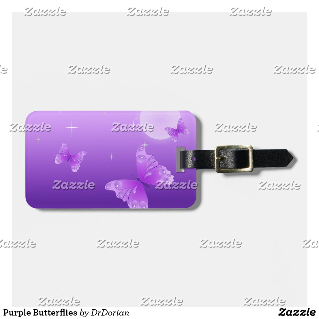 Purple Butterflies Luggage Tag