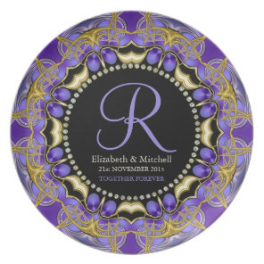 Purple Gold Lace  Monogram Wedding Gift Plate