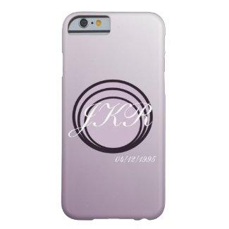 Purple soft tones monogram text & date phone case