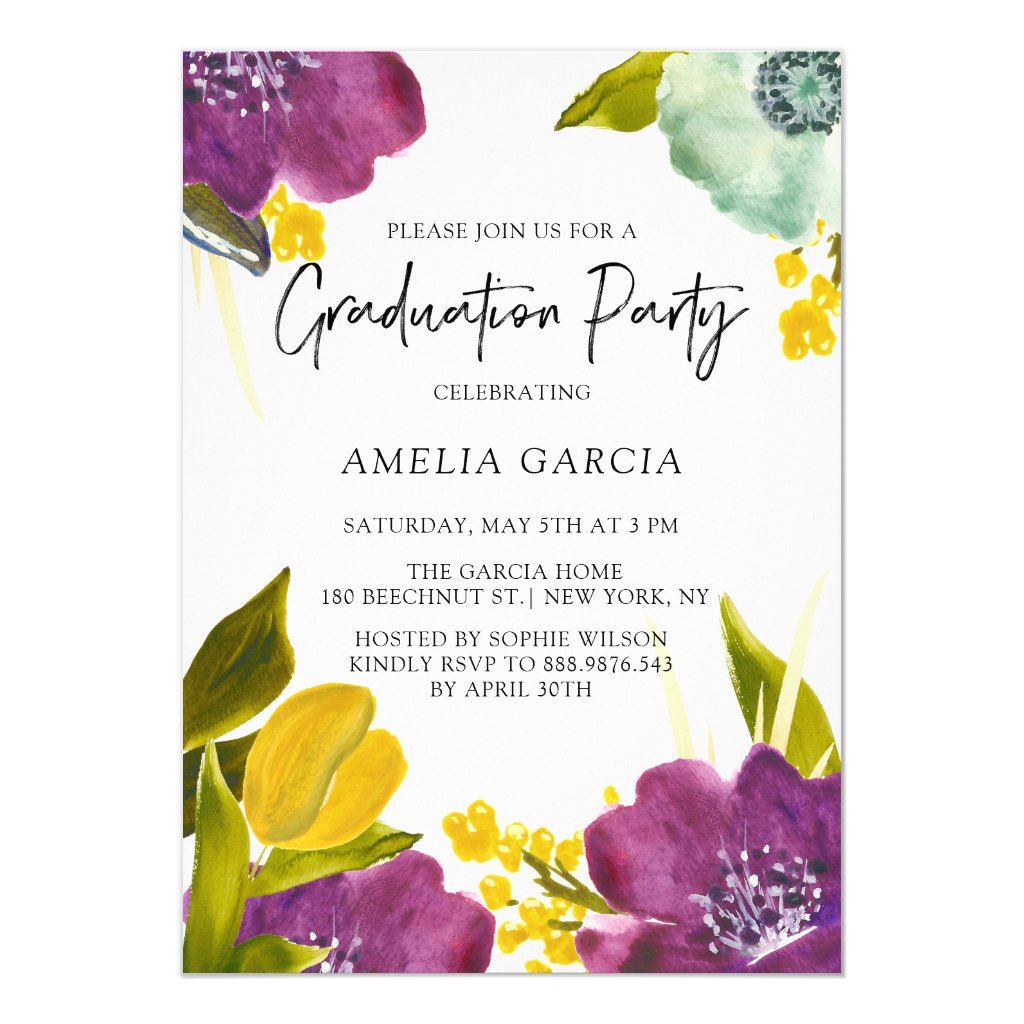 Purple Watercolor Flowers Graduation Party