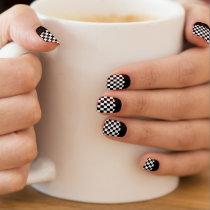 Race Checks Black and White Reverse French Tip Minx® Nail Wraps