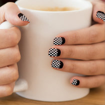 Race Checks Black and White Reverse French Tip Minx® Nail Wraps