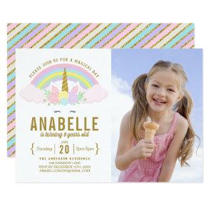 Rainbow Glitter Unicorn Photo Birthday Invitation