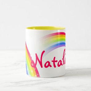 Rainbow kids 7 letter name mug